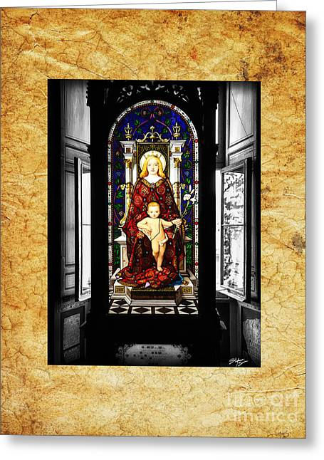 Stained Glass Window Of Madonna And Child Greeting Card by Stefano Senise