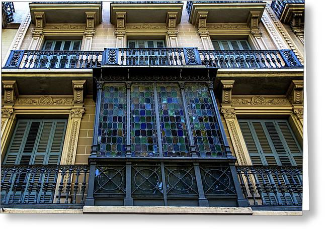 Stained Glass Windows - Barcelona Greeting Card
