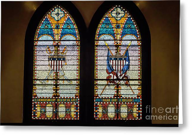 Stained Glass Windows Memorials For Capt. Z.t.henderson And Major Louise Bossieux 0339 Greeting Card