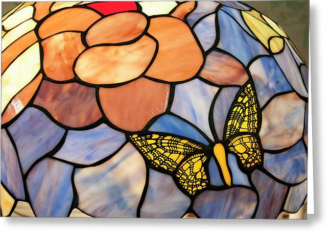 Greeting Card featuring the photograph Stained Glass With Butterfly by Chris Flees
