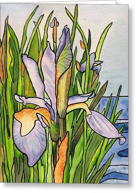 Stained Iris Greeting Card