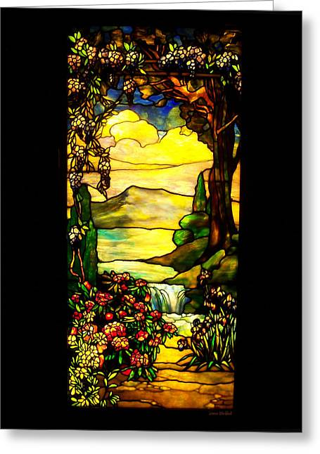 Stained Landscape Greeting Card by Donna Blackhall