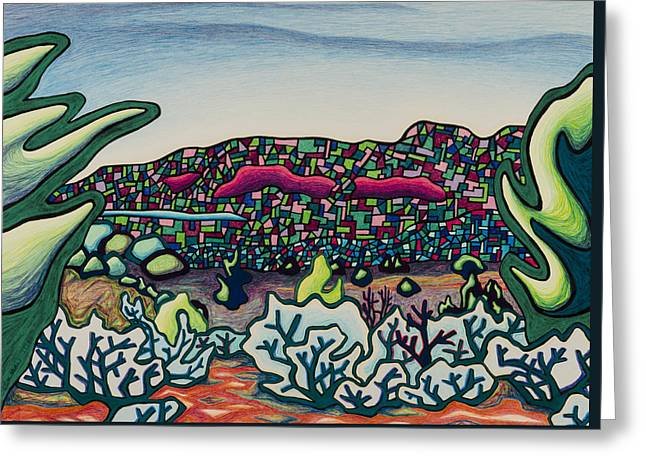 Stainglass Desert Greeting Card by Dale Beckman