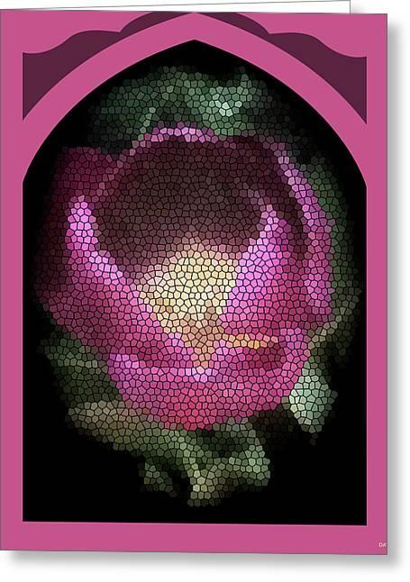 Stainglass Greeting Cards - Stainglass Tilup Window Greeting Card by Debra     Vatalaro