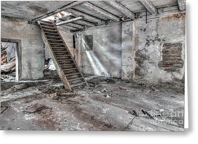 Greeting Card featuring the photograph Stair In Old Abandoned  Building by Michal Boubin