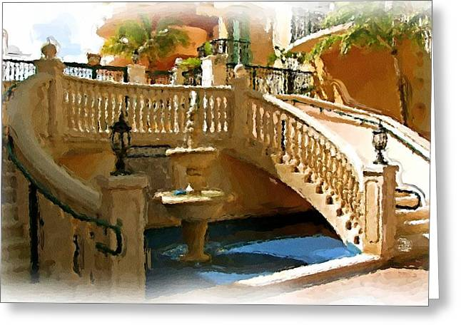 Staircase And Fountain Greeting Card by Ralph Liebstein