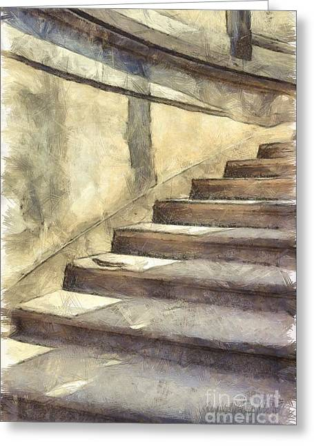 Staircase At Pitti Palace Florence Pencil Greeting Card by Edward Fielding