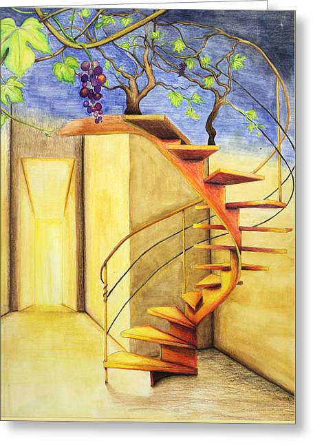 Staircase Greeting Card by Genevieve Gislason