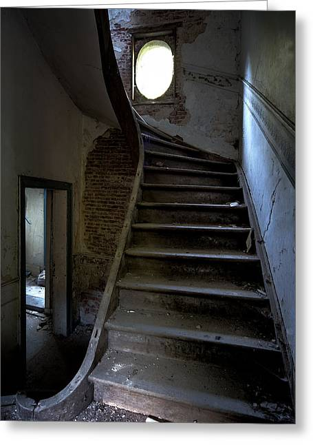 Staircase In Decay- Urban Exploration Greeting Card by Dirk Ercken