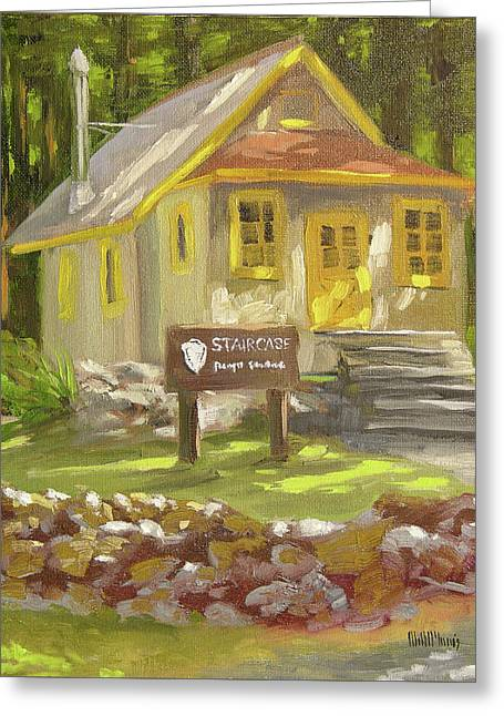 Staircase Ranger Station Greeting Card by Mary McInnis