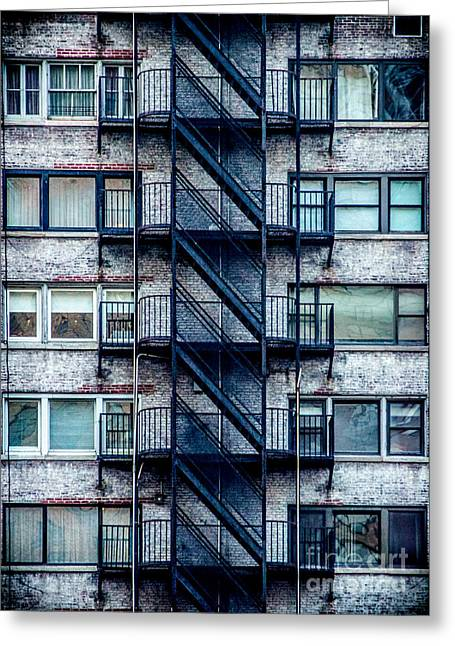 Rectangles Greeting Cards - Stairs and Windows Greeting Card by James Aiken