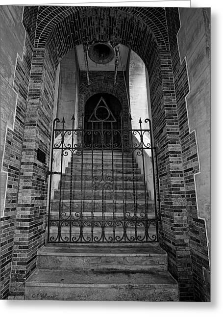 Stairs Beyond B-w Greeting Card by Christopher Holmes