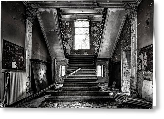 Stairs In Abandoned Castle - Urbex Greeting Card by Dirk Ercken