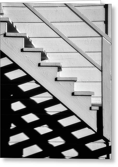 Stairs In Black And White Greeting Card by Garry Gay