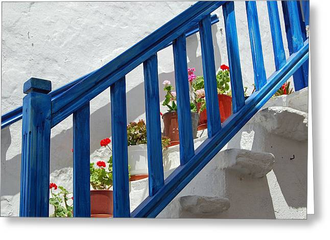 Stairs In Mykonos Greeting Card by Armand Hebert