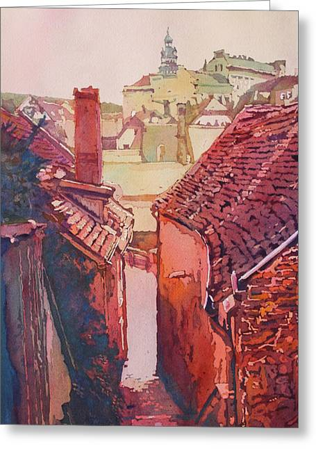 Stairs To Cesky Krumlov Greeting Card