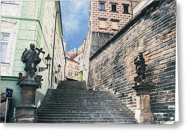 Stairs To Prague Castle Greeting Card