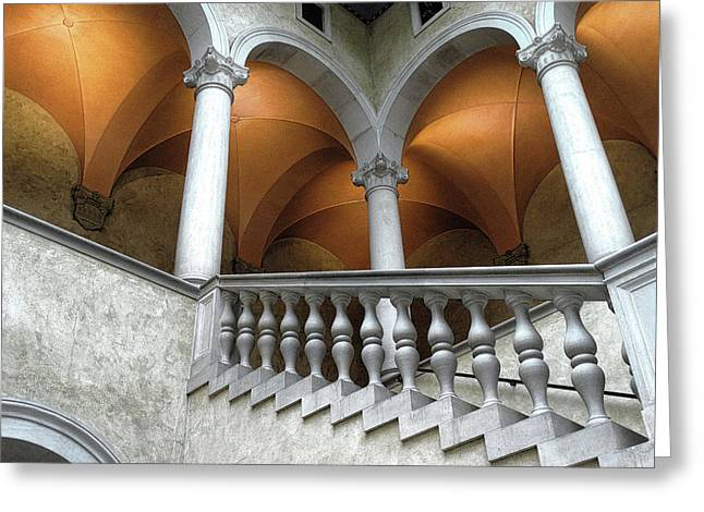 Stairway And Arches, Worcester Art Museum Greeting Card by Bill Dussault