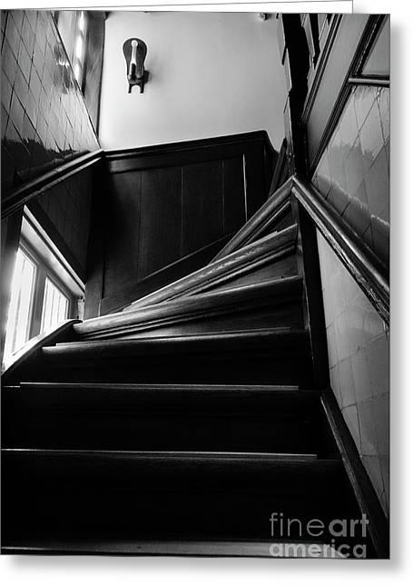 Greeting Card featuring the photograph Stairway In Amsterdam Bw by RicardMN Photography