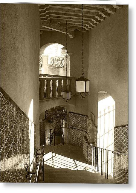 Stairway - In Sepia Greeting Card by Ben and Raisa Gertsberg