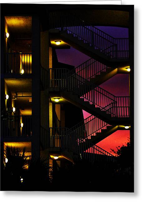 Stairway Silhouette At Sunset Greeting Card