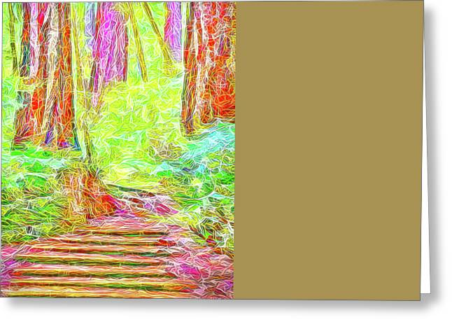 Stairway Through The Redwoods - Tamalpais California Greeting Card by Joel Bruce Wallach