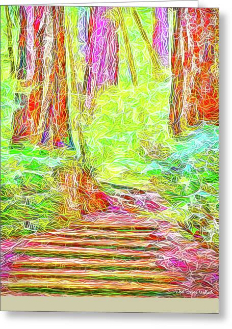 Greeting Card featuring the digital art Stairway Through The Redwoods - Tamalpais California by Joel Bruce Wallach