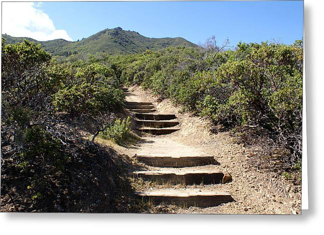 Stairway To Heaven On Mt Tamalpais Greeting Card by Ben Upham III