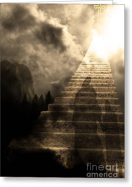 Stairway To Heaven V2 Sepia Greeting Card