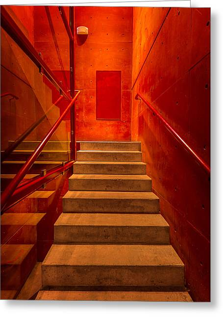 Stairway To Orange Greeting Card by Steven Maxx