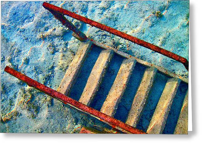 Stairway To The Sea.  Sea. Rusty Iron And Corals. Greeting Card