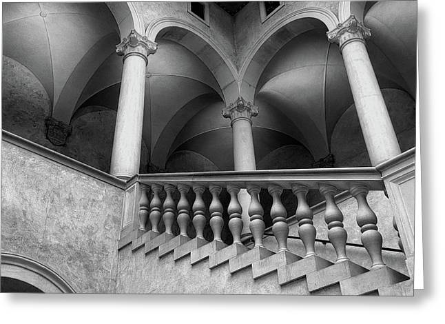 Stairways And Arches, Worcester Art Museum Bw Greeting Card by Bill Dussault