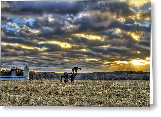 Stairways To Heaven Winter Sunrise The Iron Horse Art Greeting Card