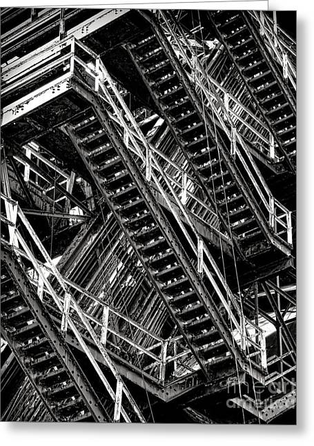 Stairwell Hell Greeting Card by Olivier Le Queinec