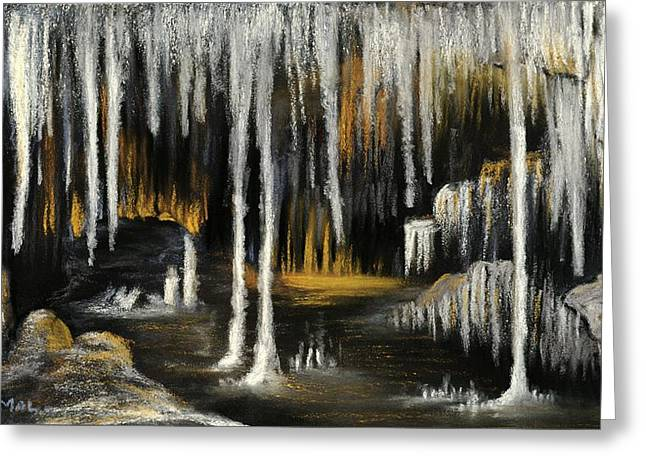 Greeting Card featuring the painting Stalactite Cave by Anastasiya Malakhova
