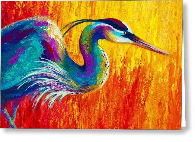 Stalking The Marsh - Great Blue Heron Greeting Card