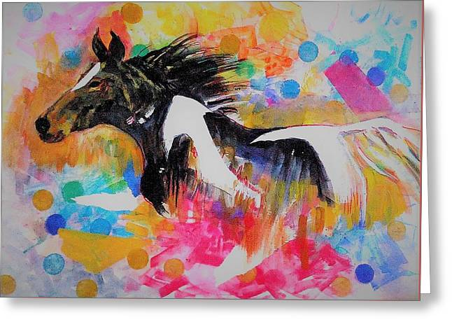 Stallion In Abstract Greeting Card by Khalid Saeed