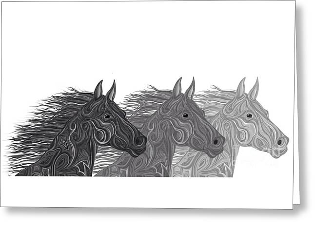 Greeting Card featuring the drawing Stallions Shades by Nick Gustafson
