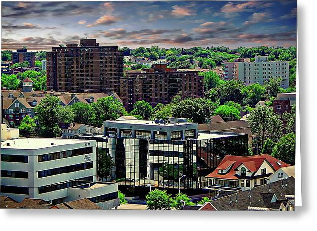 Stamford Cityscape Greeting Card by Anthony Dezenzio