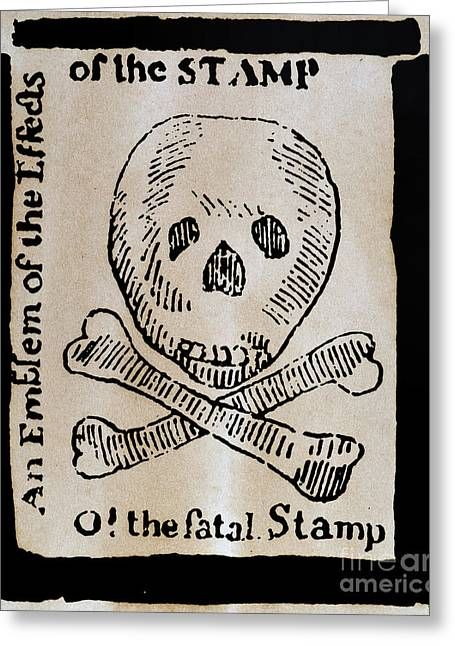 Crossbones Greeting Cards - Stamp Act: Cartoon, 1765 Greeting Card by Granger