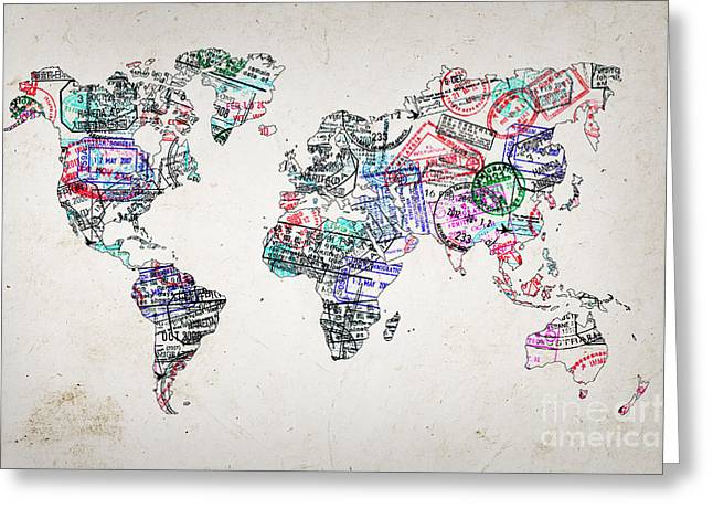 Stamp Art World Map Greeting Card
