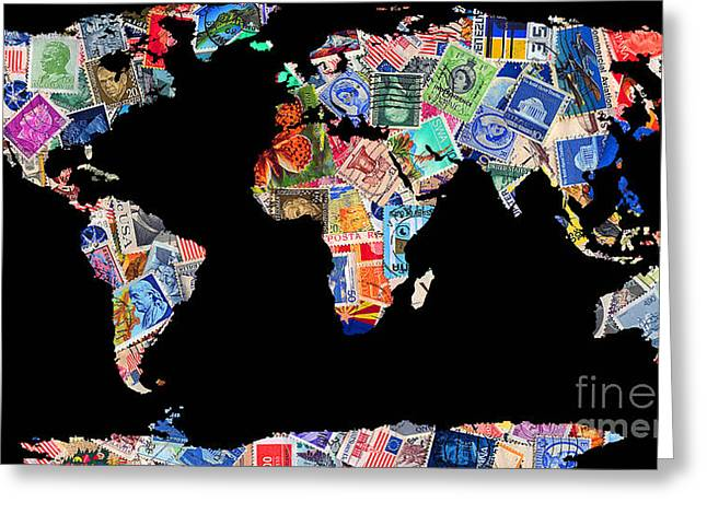 Stamps Of The World Map . V1 Greeting Card by Wingsdomain Art and Photography