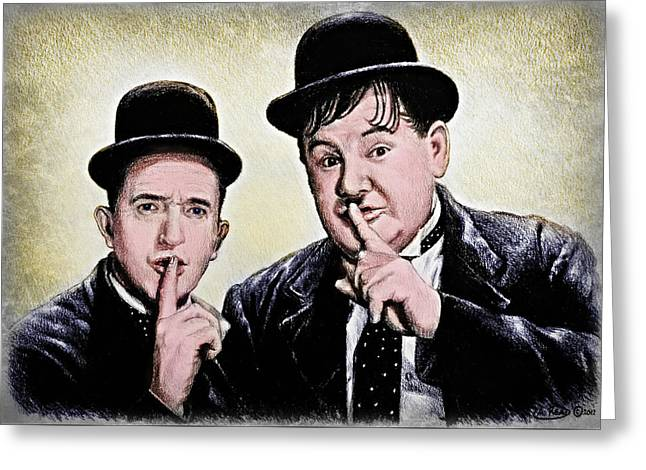 Stan And Ollie Colour Version Greeting Card
