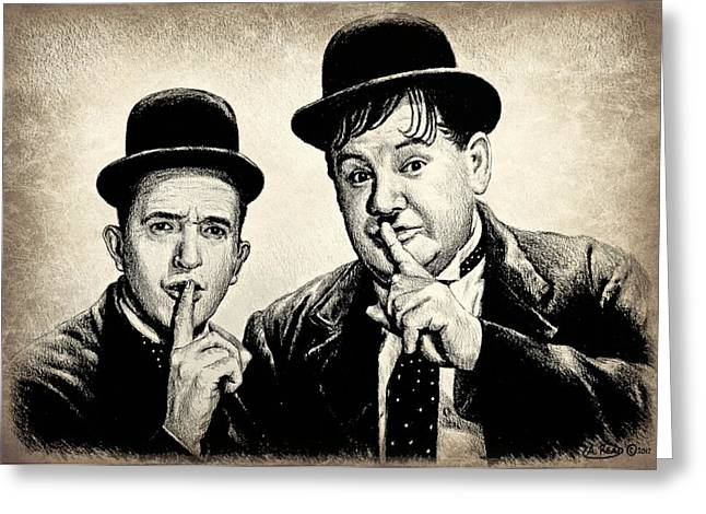 Stan And Ollie Sepia Effect Greeting Card