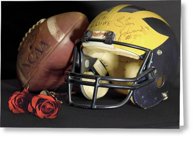 Stan Edwards's Autographed Helmet With Roses Greeting Card