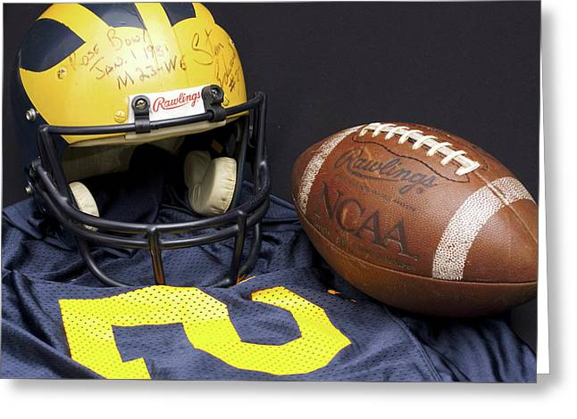 Stan Edwards's Autographed Wolverine Helmet Greeting Card