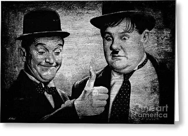 Stan Laurel And Oliver Hardy Greeting Card by Andrew Read
