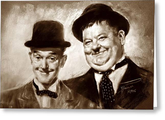 Stan Laurel  Oliver Hardy Greeting Card by Ylli Haruni