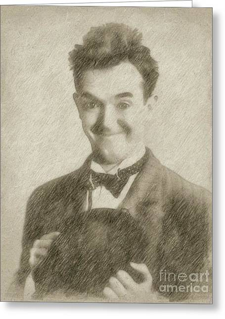 Stan Laurel Vintage Hollywood Actor Comedian Greeting Card by Frank Falcon