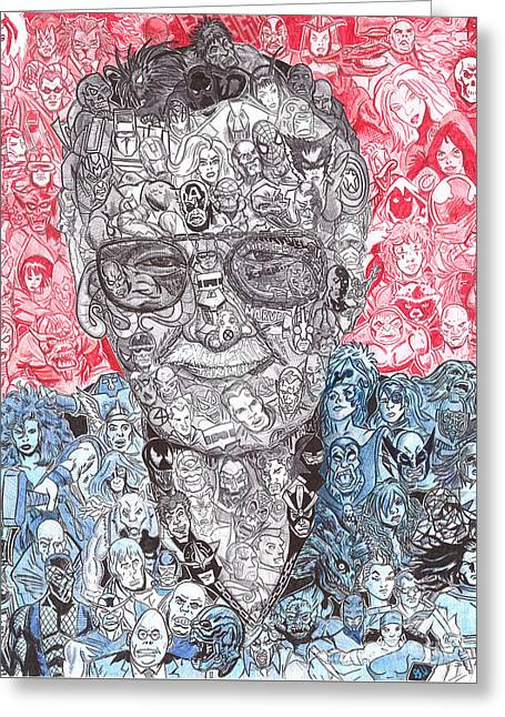 Stan Lee Greeting Card by Serafin Ureno